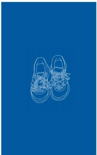 A drawing of white tennis shoes against a blue background.