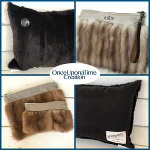 Keepsake Clutches and Pillows made from Heirloom Fur Coats and Jackets
