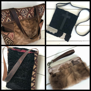 Vintage Fur and Rug Bags at Knots and Weaves in Malvern, PA