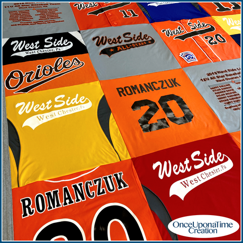 Baseball Jersey Memory Blanket by Once Upon a Time Creation
