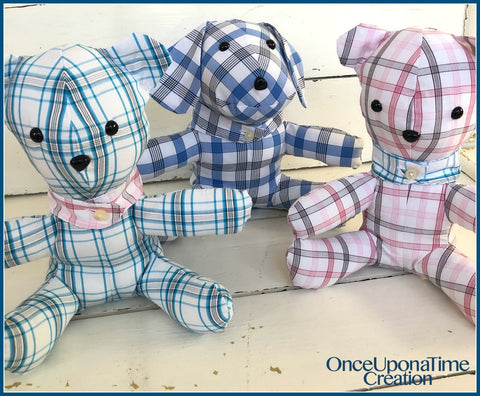 Bears and Dog made from shirts clothing by Once Upon a Time Creation