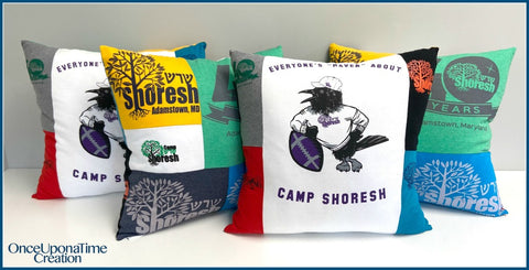 Summer Camp Memory Pillows made from t-shirts by Once Upon a Time Creation
