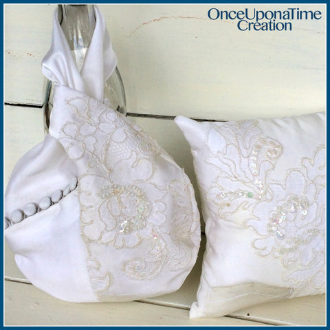 Wristlet evening bag and pillow made from a wedding dress by Once Upon a Time Creation