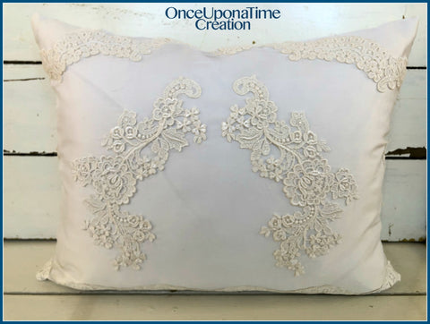 Keepsake Pillow made from family wedding dresses by Once Upon a Time Creation
