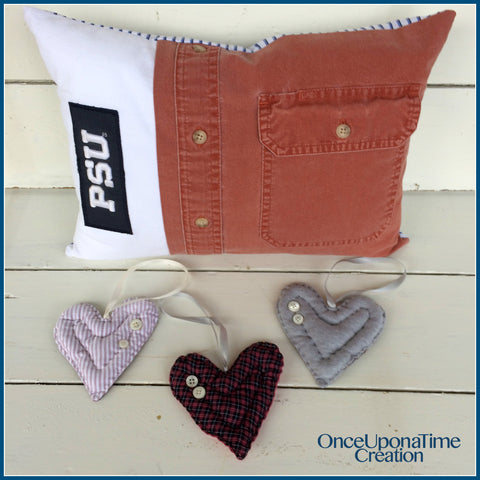 Keepsake pillow and ornaments from clothing by Once Upon a Time Creation