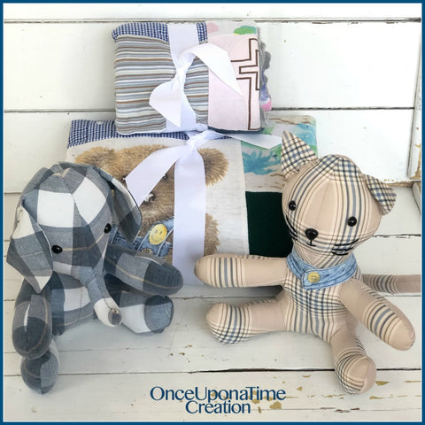 Keepsake blankets and stuffed animals made from clothing by Once Upon a Time Creation
