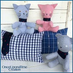 Keepsake Pillows, Bears, and Cats made from shirts and ties by Once Upon a Time Creation