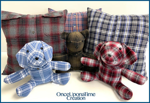 Memory Pillows and Stuffed Animals made from clothing by Once Upon a Time Creation
