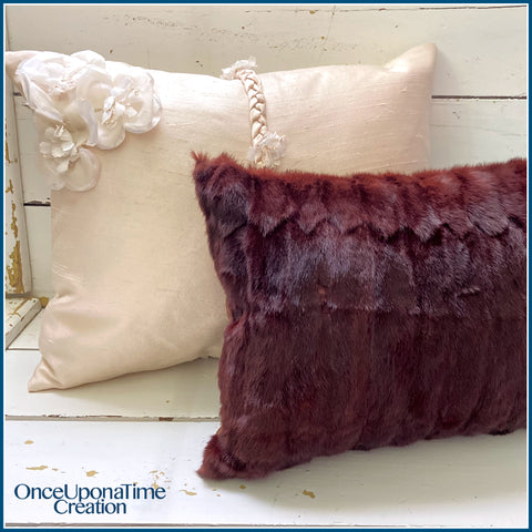 Once Upon a Time Creation Keepsake Pillows made from a Fur Coat and a Wedding Dress