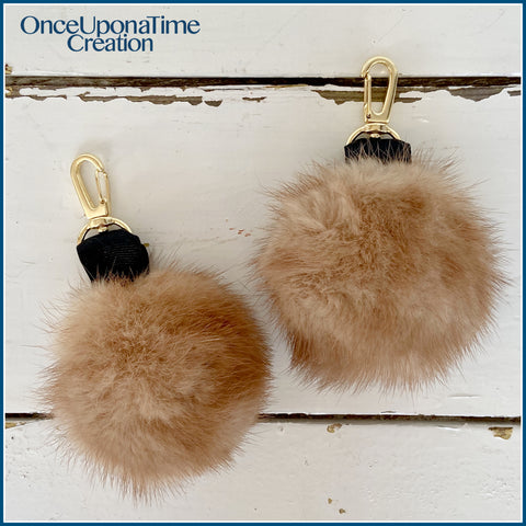 Once Upon a Time Creation Keepsake Keychain Puffs made from a Fur Coat