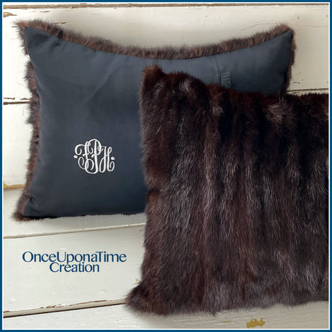 Once Upon a Time Creation Keepsake Pillows made from a Fur Coat