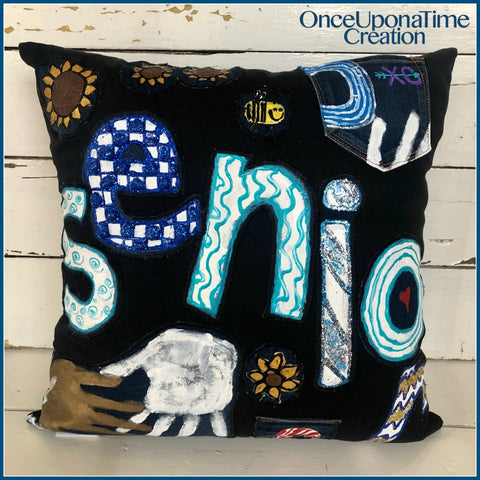 Senior jeans Pillow by Once Upon a Time Creation