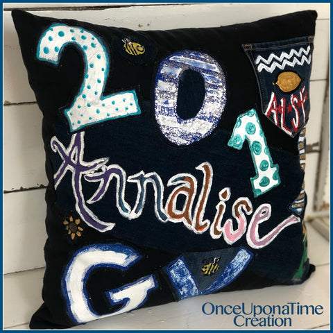 Pillow made from Senior Jeans by Once Upon a Time Creation