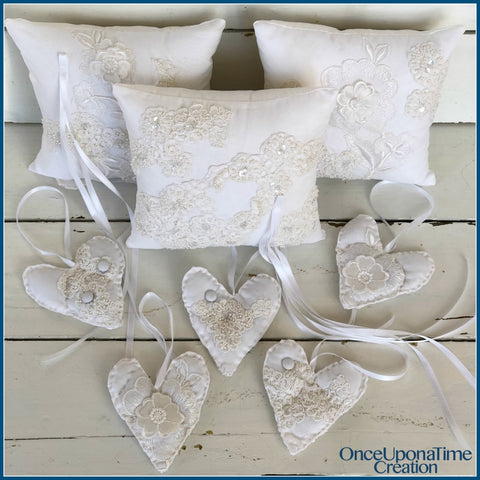 Pillow and Ornament Keepsakes made from a wedding dress by Once Upon a Time Creation