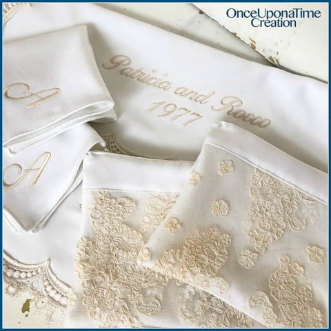 Blanket, Clutch, and Handkerchief Keepsakes made from a wedding dress by Once Upon a Time Creation