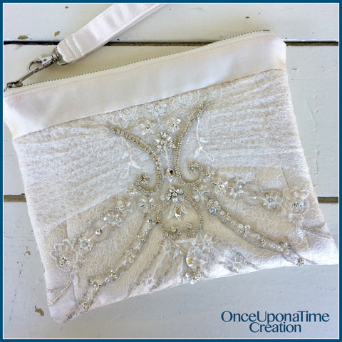 Custom clutch bag made from a wedding dress by Once Upon a Time Creation