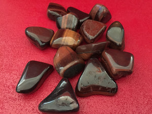 Red Tiger's Eye Tumbled Stone Set
