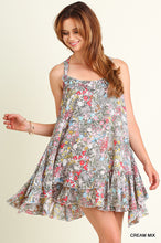 Ruffled Floral Print Peasant Dress