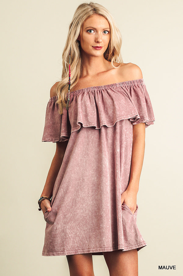 Washed Off Shoulder Ruffled Dress