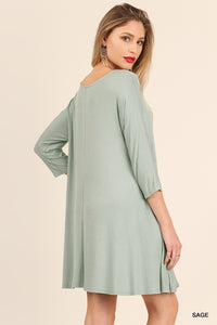 A Line Dress with 3/4 Sleeve and Criss Cross Neckline Detail