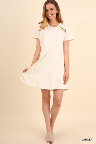 Garment Dye Washed Tee Dress with Cutout Details
