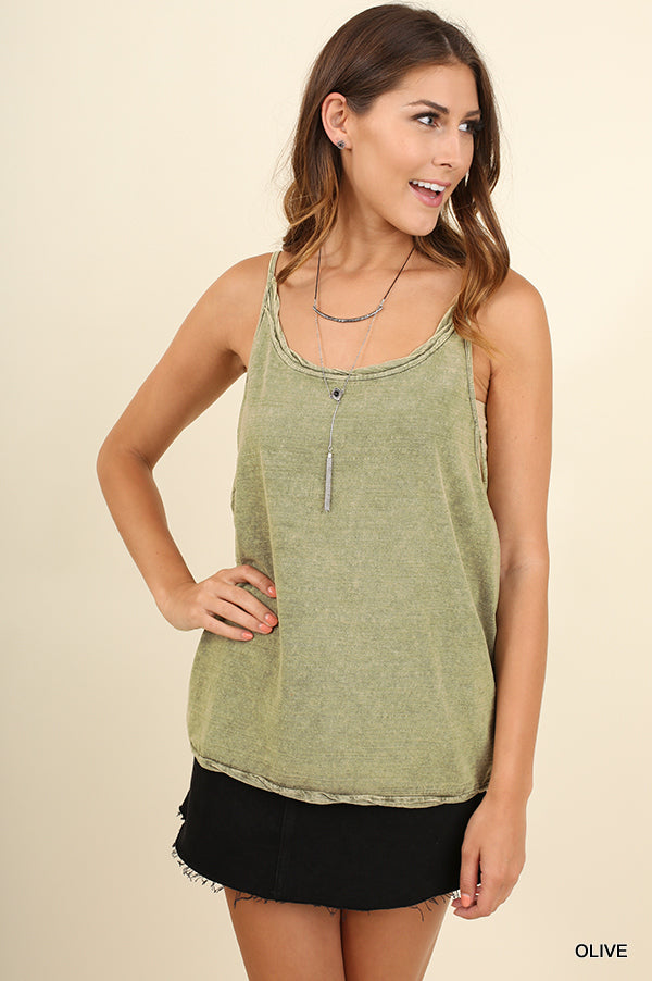 Garment Dye Washed Sleeveless Scoop Neck Top