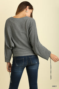 Batwing Light Sweater with Drawstring Sleeves