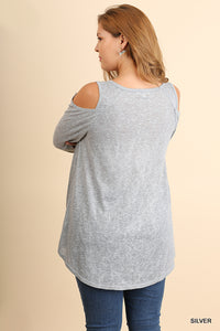Beautiful Curvy Size ~ Open Shoulder Metallic Top with Gathered Hemline