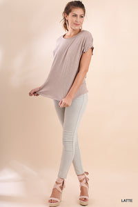 Scoop Neck Slub Top with Gathered Short Sleeves