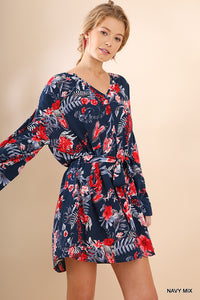 Floral Print Mandarin Collar Dress with Balloon Sleeves and a Removable Belt