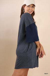 Beautiful Curvy Size ~ 3/4 Bell Sleeve Pocket Tee Dress with Raw Edge Hems