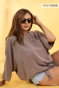 Beautiful Curvy Size ~ Mineral Washed Dolman Sleeve Top with a Front Tie Detail