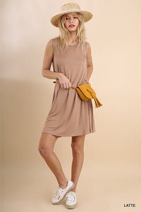 Sleeveless Basic Dress with Pintuck Details-Multiple Colors