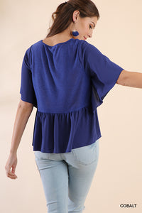 Bell Sleeve Gathered Top with a Slub Knit Bodice