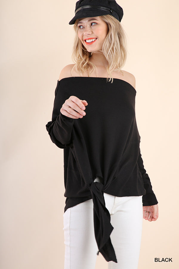 Off Shoulder Long Sleeve Waffle Knit Top with Waist Tie