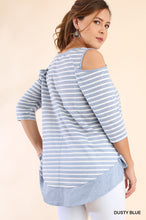 Beautiful Curvy Size ~ 3/4 Sleeve Striped Open Shoulder Top with Contrasting Fabric Hem