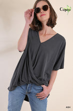 Short Sleeve Ribbed Cupro V-Neck Top with Gathered Waist Detail