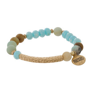 Blessed Natural Stone Stretch Bracelet in Two Colors