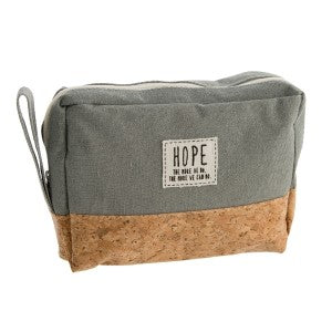 """Hope"" Cork and Canvas Zipper Bag-Multiple Colors"