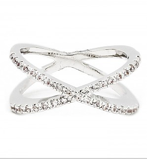 Cubic Pave Criss Cross Rings