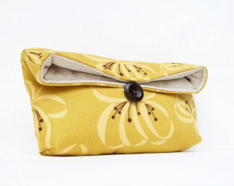 Floral Gold Clutch, Jewelry Bag or Multi-Purpose Bag
