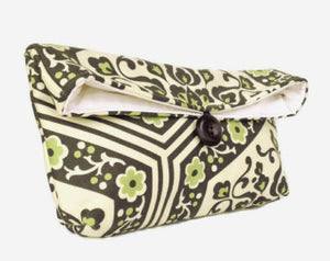 Handmade Green Flowers Makeup Bag or Clutch Purse