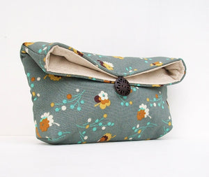 Gold Flowers on Blue Gray Clutch Purse, Makeup Bag, Bridesmaid Gift, Great for Travel