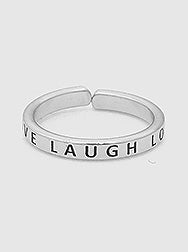Live Laugh Love Engraved Adjustable Ring