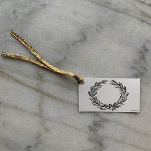 Black Laurel Wreath Gift Tags with Gold Ribbon (5)