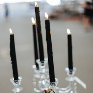 4 Extra Long Tapered Dinner Candles  - Black