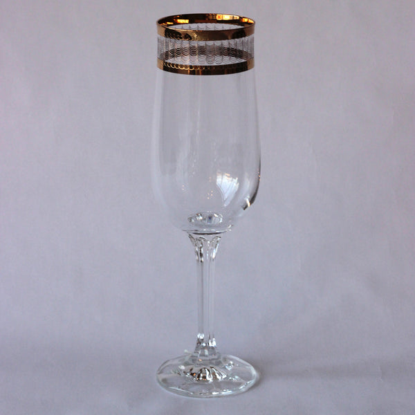 Czechoslovakian Engraved Crystal & Gold Flute