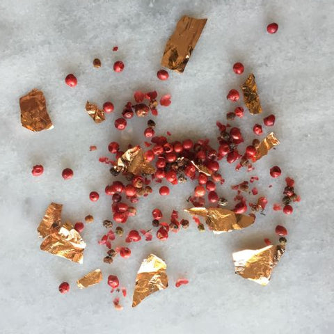 Madagascar Pink Peppercorns with Rose Gold Leaf