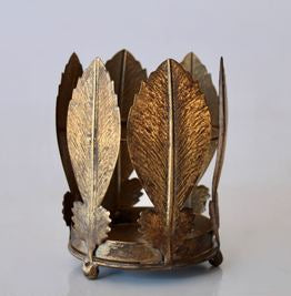 Gold Palm Leaf Candle Holder