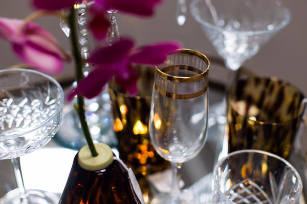 The Coslovakian Engraved Crystal & Gold Champagne Flute